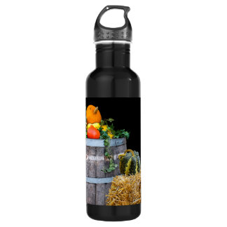 Thanksgiving Harvest Scene with Barrel and Produce 710 Ml Water Bottle