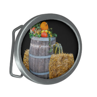 Thanksgiving Harvest Scene with Barrel and Produce Belt Buckle