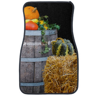 Thanksgiving Harvest Scene with Barrel and Produce Car Mat