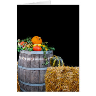 Thanksgiving Harvest Scene with Barrel and Produce Card