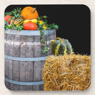 Thanksgiving Harvest Scene with Barrel and Produce Coaster