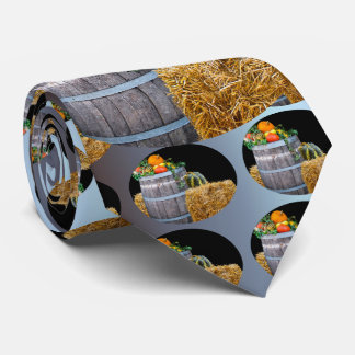 Thanksgiving Harvest Scene with Barrel and Produce Tie