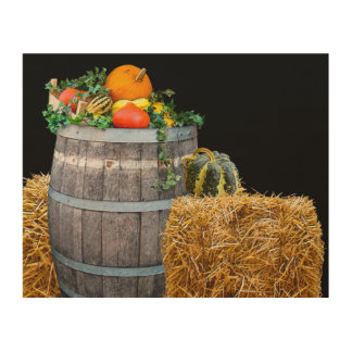 Thanksgiving Harvest Scene with Barrel and Produce Wood Print