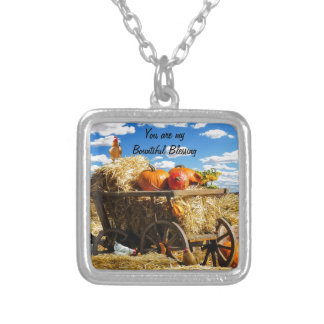 Thanksgiving Harvest Wagon Silver Plated Necklace