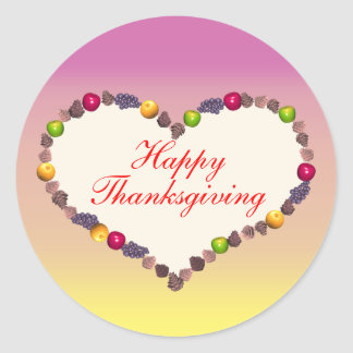 Thanksgiving Heart - Pink and Yellow Sticker