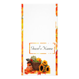 Thanksgiving Holiday, Pumpkin, Squash, Sunflowers Customised Photo Card