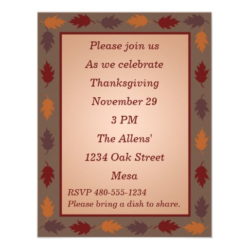 Thanksgiving Invitation - Thanksgiving Leaves