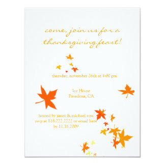 "Thanksgiving invitations, maple leaves 4.25"" x 5.5"" invitation card"