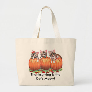 Thanksgiving is the Cat's Meow Jumbo Tote Bag