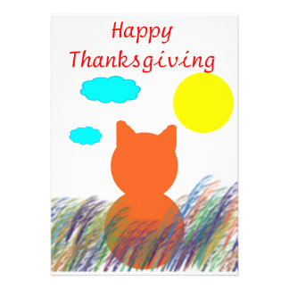 Thanksgiving Kitty Field Personalized Invite