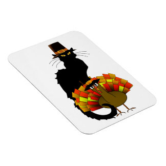 Thanksgiving Le Chat Noir With Turkey Pilgrim Magnets