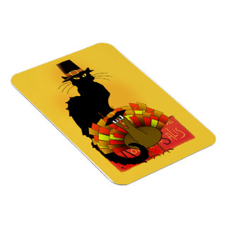 Thanksgiving Le Chat Noir With Turkey Pilgrim Rectangular Magnets