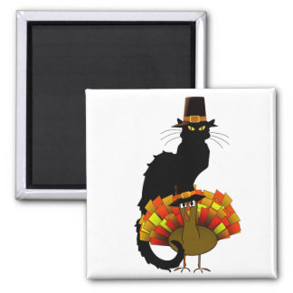 Thanksgiving Le Chat Noir With Turkey Pilgrim Square Magnet