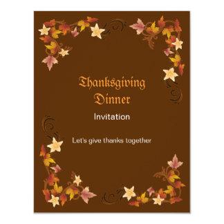 Thanksgiving Leaves Classic Fall Border 11 Cm X 14 Cm Invitation Card