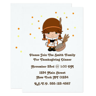 Thanksgiving Little Pilgrim Girl Card