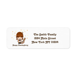 Thanksgiving Little Pilgrim Girl Return Address Label