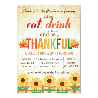 Thanksgiving Lunch Potluck Eat Drink Give Thanks 13 Cm X 18 Cm Invitation Card