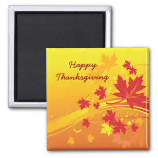 Thanksgiving Maple leaves in fall colors custom ma Square Magnet