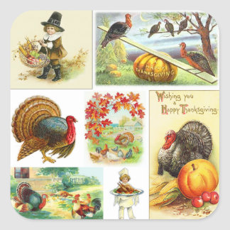 Thanksgiving Medley Vintage Square Sticker