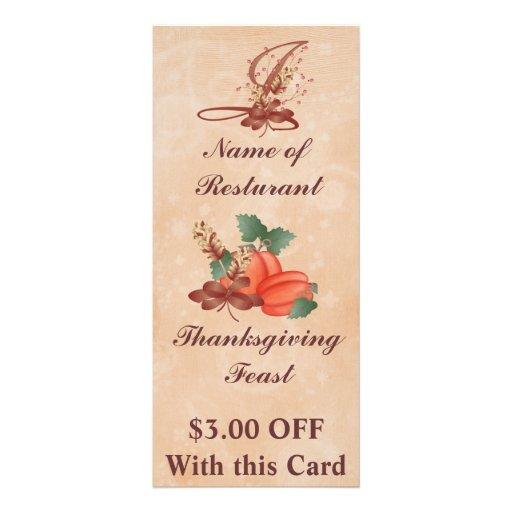 Thanksgiving Monogram I Rack Card /Resturant