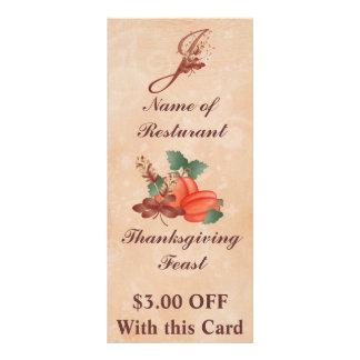 Thanksgiving Monogram J Rack Card /Resturant