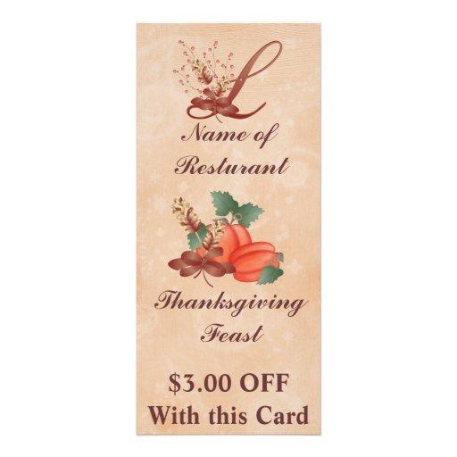 Thanksgiving Monogram L Rack Card /Resturant