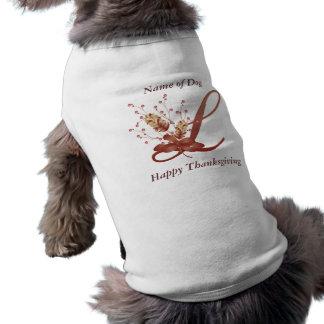Thanksgiving monogram Letter L Dog Shirt
