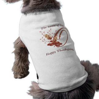 Thanksgiving monogram Letter O Dog Shirt