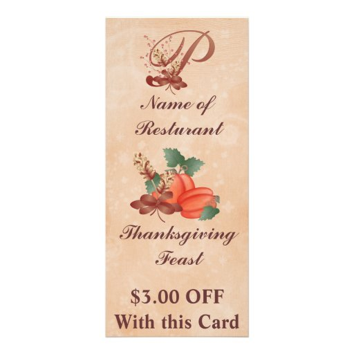 Thanksgiving Monogram P Rack Card /Resturant