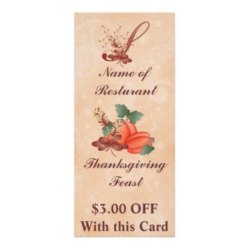 Thanksgiving Monogram S Rack Card /Resturant