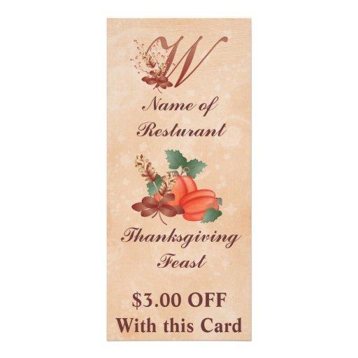 Thanksgiving Monogram W Rack Card /Resturant
