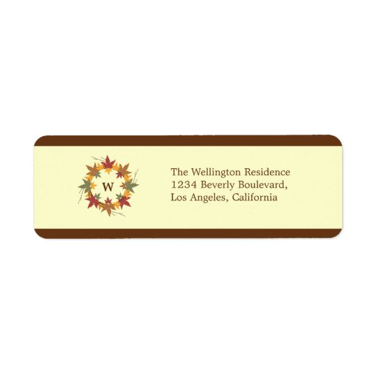 Thanksgiving Monogram Wreath Return Address Label