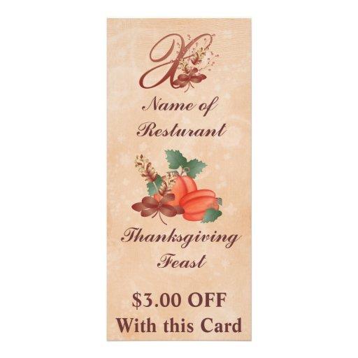 Thanksgiving Monogram x Rack Card /Resturant
