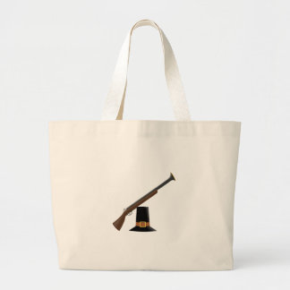 Thanksgiving Musket and Pilgrim Hat Capotain Tote Bag