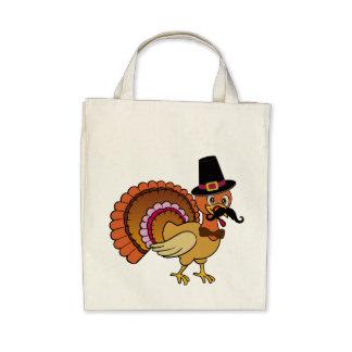 Thanksgiving Mustache Turkey Canvas Bag