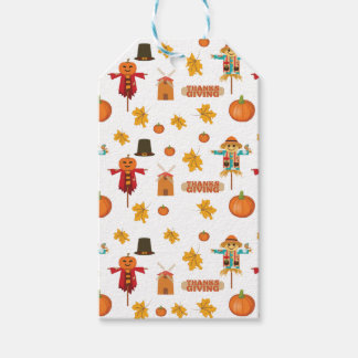 Thanksgiving pattern gift tags