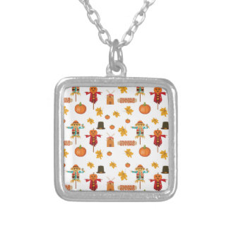 Thanksgiving pattern silver plated necklace