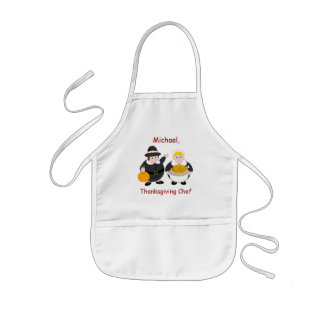 Thanksgiving Pilgrim Fathers, pumpkin & turkey, Kids Apron