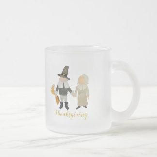 Thanksgiving Pilgrim Puritan Toddler Girl and Boy Frosted Glass Mug