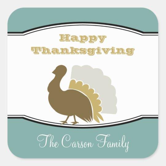 Thanksgiving potluck blue brown turkey day tag square sticker