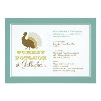 Thanksgiving potluck chic blue green turkey dinner 13 cm x 18 cm invitation card