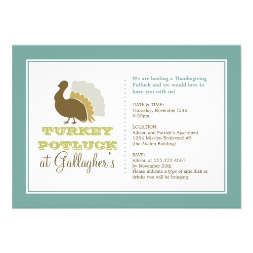 Thanksgiving potluck chic blue green turkey dinner personalized announcement