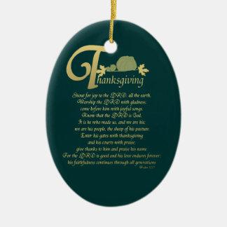 Thanksgiving - Psalm 100 Christmas Ornament