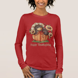 Thanksgiving pumpkin crow Holiday womens t-shirt