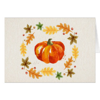 Thanksgiving Pumpkin Leaves Watercolors Greeting Card