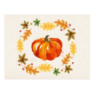 Thanksgiving Pumpkin Leaves Watercolors Postcard