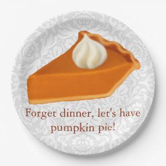 Thanksgiving Pumpkin Pie Paper Plates 9 Inch Paper Plate