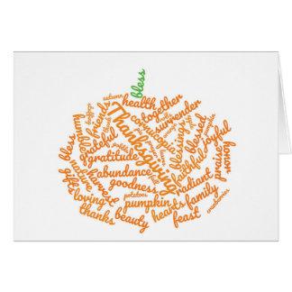 Thanksgiving Pumpkin Word Cloud Card
