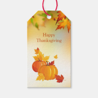 Thanksgiving, Pumpkins, maple leaves Gift Tags