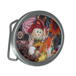 Thanksgiving Rag Doll Amongst Autumn Harvest Scene Oval Belt Buckles
